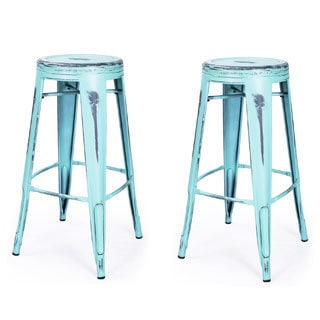 Adeco 30-inch Vintage Inspired Metal Counter Stool (Set of 2)