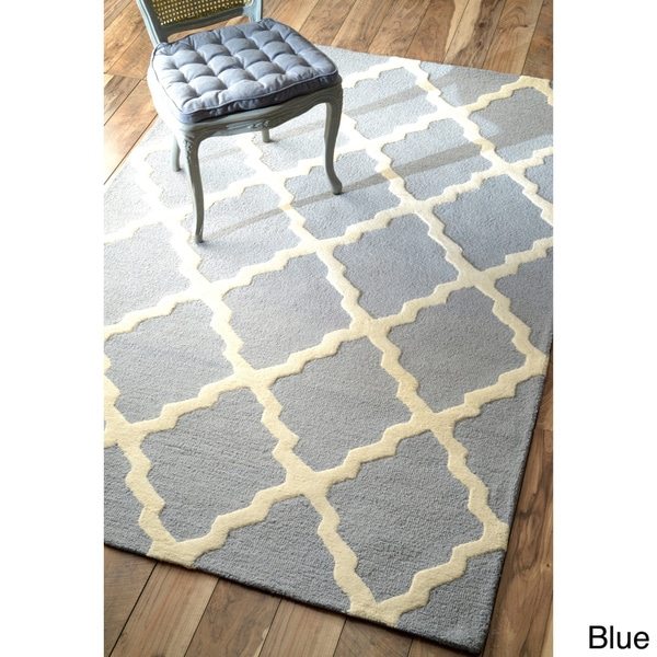nuLOOM Hand-hooked Alexa Moroccan Trellis Wool Rug (3'6 x 5'6) in Blue (As Is Item)