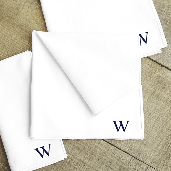 Personalized White Handkerchief Set