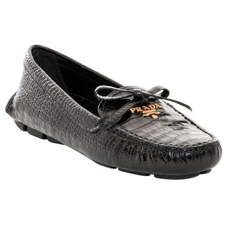 Prada Black Croc Embossed Leather Loafers