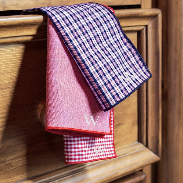 Personalized Red/ Navy Gingham Handkerchief Set