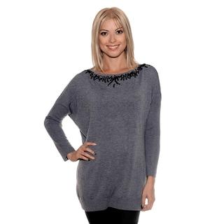 Nancy Yang Women's Sequin Neck Long Style Sweater