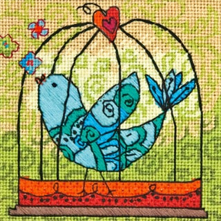 Birdie Mini Needlepoint Kit5inX5in Stitched In Thread