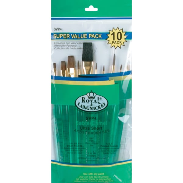 Ultra Short Sable/Camel Super Value Pack Brush Set10/Pkg