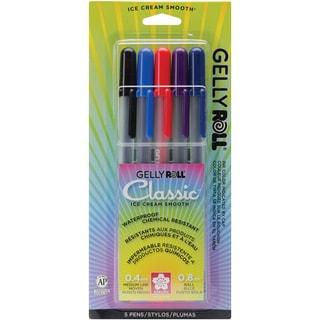 Gelly Roll Medium Point Pens 5/PkgBlack, Blue, Red, Purple & Royal Blue