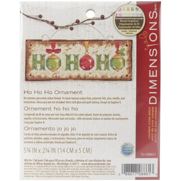 Ho Ho Ho Ornament Counted Cross Stitch Kit5.75inX2.25in 14 Count