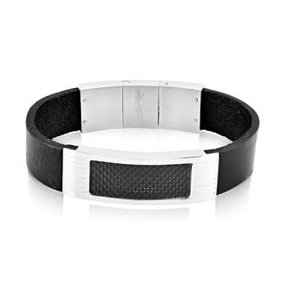 Crucible Stainless Steel Carbon Fiber Inlay Black Leather ID Bracelet