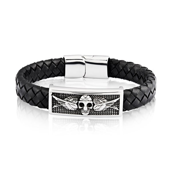 Crucible Stainless Steel Skull ID Plate Black Braided Leather Bracelet