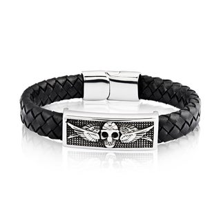 Crucible Stainless Steel Skull ID Plate Black Braided Leather Bracelet