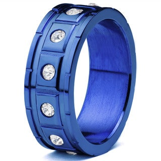 Men's Blueplated Stainless Steel Square Grooved with Cubic Zirconia Ring