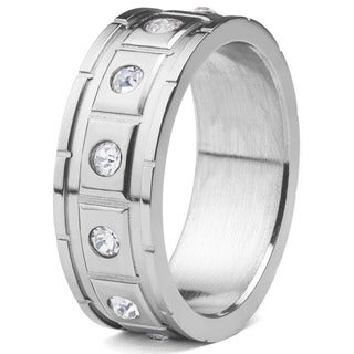 Men's Stainless Steel Square Grooved with Cubic Zirconia Ring