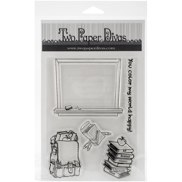 Two Paper Divas Clear Stamps 8.5inX4.5inSchool Days