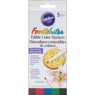 Food Writer ExtraFine Tip Edible Color Markers .25oz 5/PkgAssorted