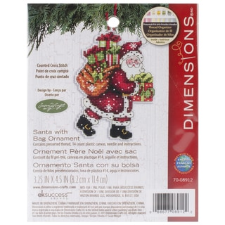 Susan Winget Santa W/Bag Ornament Counted Cross Stitch Kit3.5inX4.75in 14 Count Plastic Canvas
