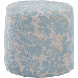 Floral Linz Round Linen/Cotton 18-inch Pouf