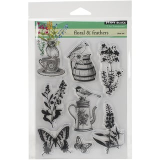 Penny Black Clear Stamps 5inX6.5in SheetFlorals & Feathers