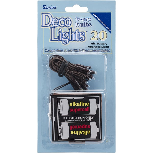 Deco Lights Battery Operated Teeny Bulbs 20 BulbsWhite Lights, Brown Cord