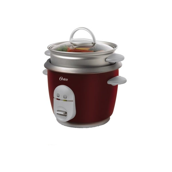Oster 4715 Red 10-Cup (Cooked) Rice Cooker with Steam Tray