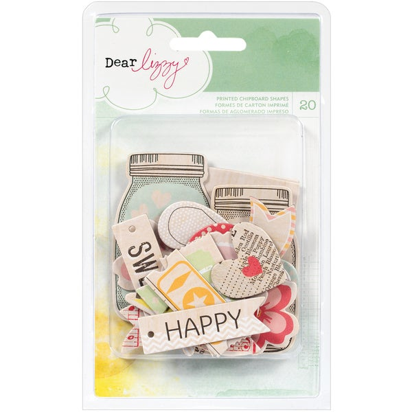 Dear Lizzy Neapolitan Chipboard Shapes 20/Pkg