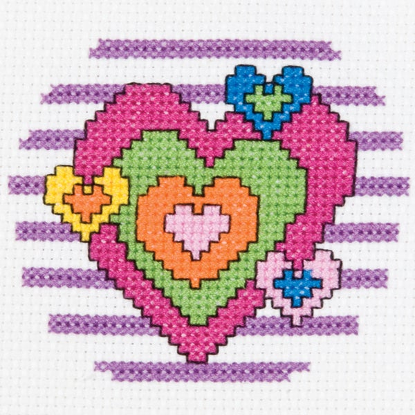 My 1st Stitch Heart Mini Counted Cross Stitch Kit3in Round 14 Count 16255414