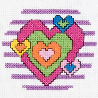My 1st Stitch Heart Mini Counted Cross Stitch Kit3in Round 14 Count