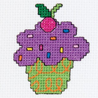 My 1st Stitch Cupcake Mini Counted Cross Stitch Kit3in Round 14 Count