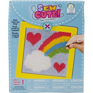 Rainbow Learn To Sew Needlepoint Kit6inX6in Stitched In Yarn
