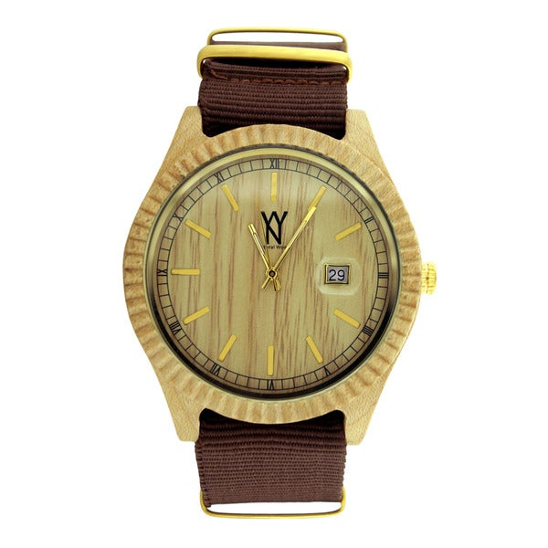 Bling Master Men's Natural Sandalwood Black Canvas Strap Date Watch