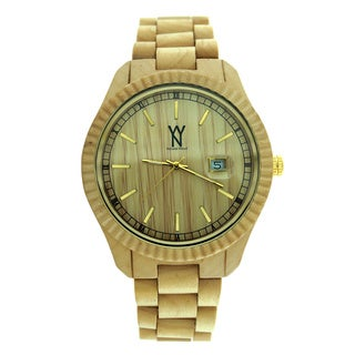 Bling Master Maple Natural Wood Date watch with wooden Strap