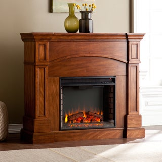 Upton Home Hawkins Oak Saddle Corner Convertible Electric Fireplace