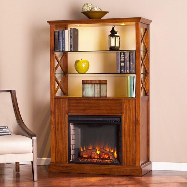 Upton Home Carrillo Oak Saddle Electric Fireplace Curio Tower