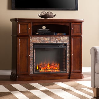 Upton Home Davenport Espresso Faux Stone Electric Media Fireplace