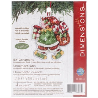 Susan Winget Elf Ornament Counted Cross Stitch Kit3.25inX4.5in 14 Count Plastic Canvas