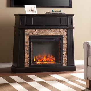 Upton Home Fitzgerald Black Faux Stone Electric Media Fireplace
