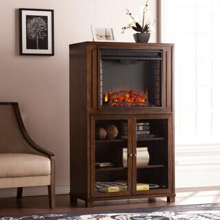 Upton Home Middleton Celia Espresso Electric Fireplace Storage Tower