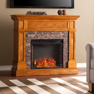 Upton Home Moyer Stone Look Convertible Electric Media Fireplace