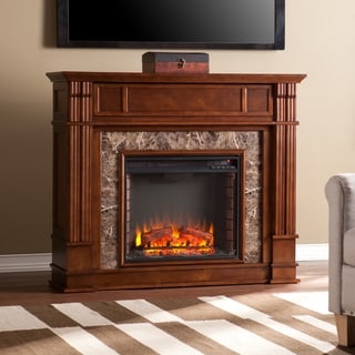Upton Home Vierling Whiskey Maple Faux Stone Electric Media Fireplace