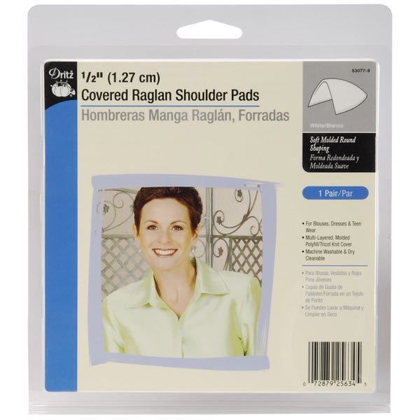 1/2in Covered Raglan Shoulder Pads 2/PkgWhite