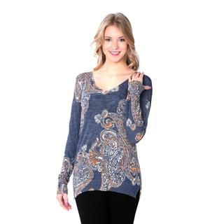 Nancy Yang Women's Long-sleeve Ultrathin Low-neck Patterned Sweater