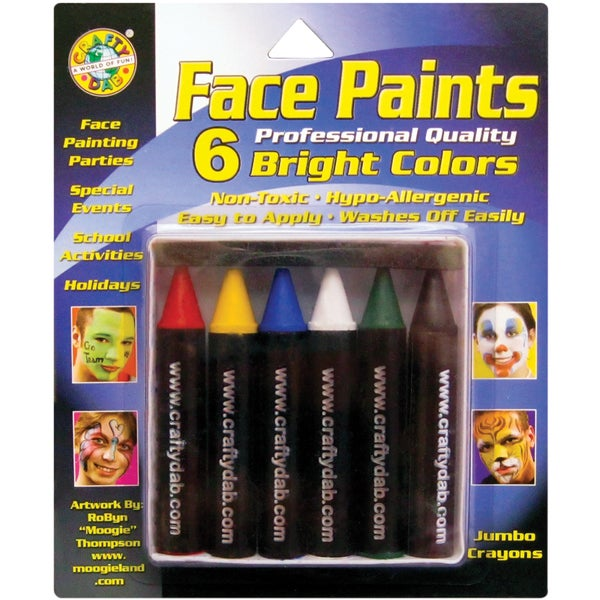Face Paint Jumbo Crayons 6/PkgBright
