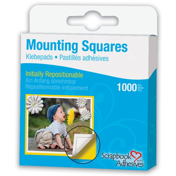 Scrapbook Adhesives Mounting Squares 1000/PkgRepositionable, White, .5inX.5in