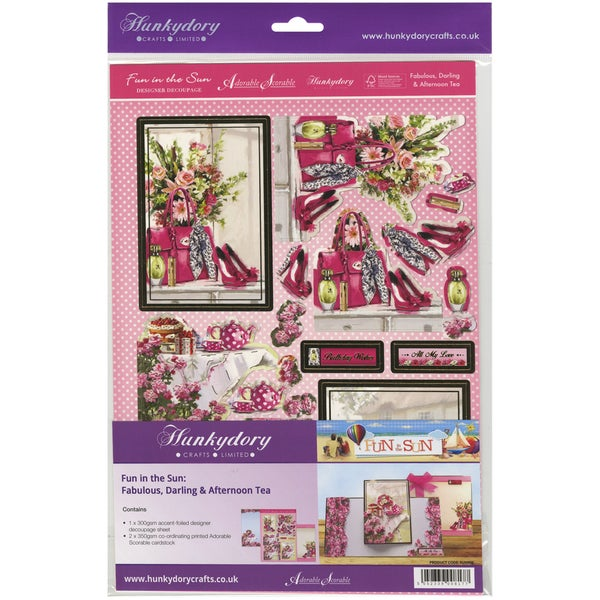 Fun In The Sun Luxury Decoupage Set A4Fabulous, Darling & Afternoon Tea