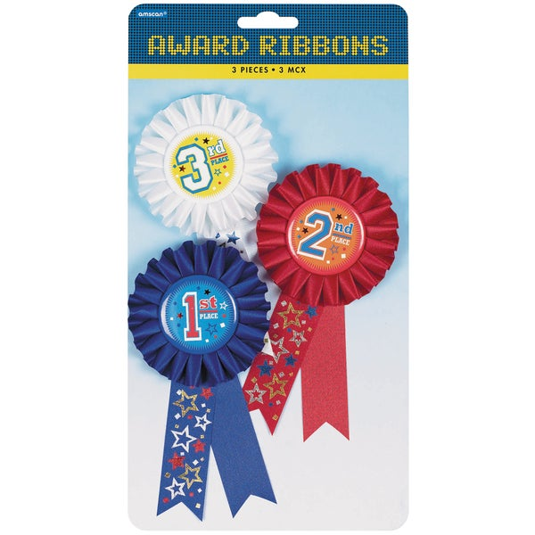 Award Ribbons 6in 3/Pkg1st, 2nd & 3rd Place