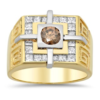 14k Two-tone Gold Men's 2 1/5ct TDW Champagne Diamond Ring (F-G, SI1-SI2)