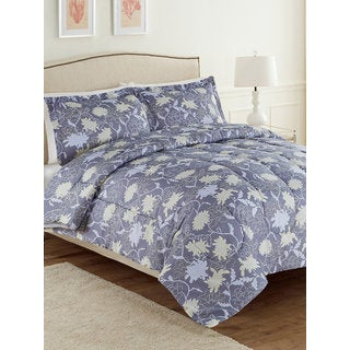 Ellen Tracy Olga Grey and Blue Floral Accent 3-piece Comforter Set