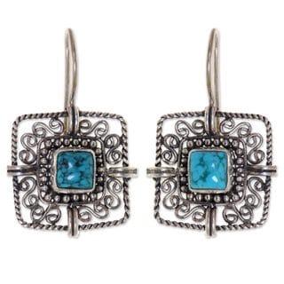 Sterling Silver 'Blue Regency' Turquoise Earrings (Indonesia)