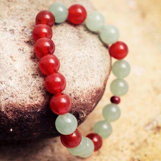 Handcrafted Agate Aventurine 'Forest Sunset' Bracelet (Peru)