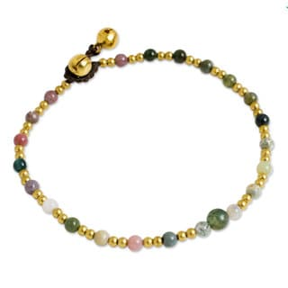 Handcrafted Brass 'Cheerful Walk' Agate Anklet (Thailand)