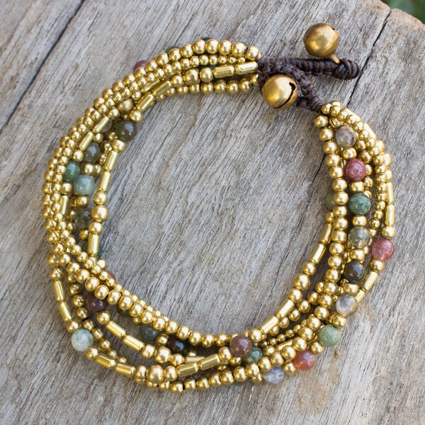 Handmade Brass 'Earth Freedom' Agate Bracelet (Thailand) 16256584
