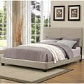 Portfolio Christie Herbal Grey Sage Upholstered Queen Bed with Nail Head Trim